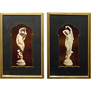 Pair Of Antique Italian Sculpture Photos In Classical Mats