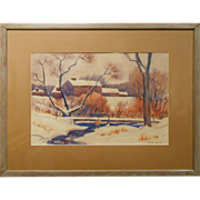 Boys Fishing At A Winter Stream Watercolor By Eaton
