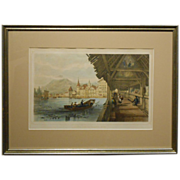 Antique Hand Colored Lithograph Of Lucerne