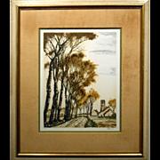 Roger Hebbelinck 1958 Landscape Lithograph #1