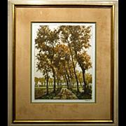 Roger Hebbelinck 1958 Landscape Lithograph #2