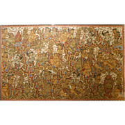 Large Balinese Folk Art Masterpiece Painting