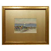 Small Antique Marine Watercolor In Gold Mat & Frame