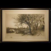Antique E.C. Rost Country Landscape Etching