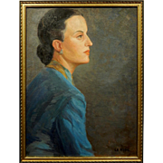 SOLD Oil Portrait of a Woman c.1945 By Bob LeRose