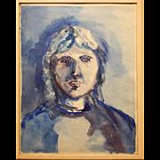 Blue Woman Watercolor Portrait By S. Miller