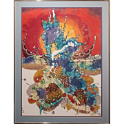 Signed Tropical Abstract Batik Painting