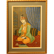 Persian Masterpiece Portrait Painting Of A Prince