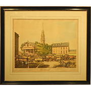 New York In 1831 Historic Revival Color Lithograph Signed