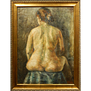 Moses Soyer Sensuous Female Nude Oil Painting