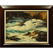 Seascape Oil Painting Surf On Rocks By Des.Atlee