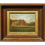 1870's New England Homestead Oil Painting In Walnut Frame