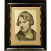 Boston School Charcoal Portrait Of A Woman c.1930
