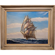 Clipper Ship Oil Painting By Raymond P. Frazier