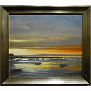 Harbor Sunset Marine Oil Painting By Robin Wessman