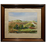 T.M.Foley Dune Watercolor In Antique Walnut Frame