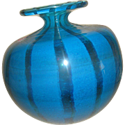 Impressive Brilliant Aqua & Gold Striped Murano glass Vase signed Molina