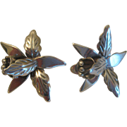 Vintage 1960s Taxco Mexico Signed AS Sterling Silver Orchid Flower Earrings