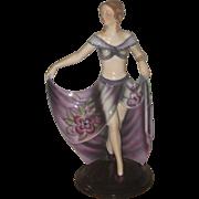 Vintage Ar Deco Porcelain Lady Figurine Hand Painted Holding Skirt