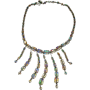 REDUCED Exceptional Vintage Aurora Borealis Glass Bead Dangle Bib Fringe Necklace