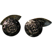 REDUCED Vintage Aztec Face Cuff Links Gold Vermeil & Sterling Mexico
