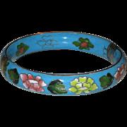 SALE Rare Robin's Egg Blue Chinese Import Cloisonne Floral Enamels Hinged Bracelet