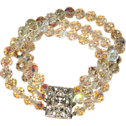 REDUCED Vintage Three Strand Austrian Crystal Bracelet with Ornate Rhinestone Clasp