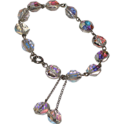 REDUCED Vintage Aurora Borealis Crystal Dangle bracelet