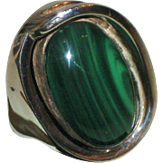 SALE Vintage Modernist RiC Erika Hult de Corral Taxco Sterling Silver & Malachite Ring