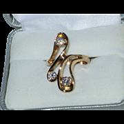 SALE Vintage Modernist 3/4 Carat Diamond & 14k Yellow Gold Ring