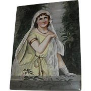 REDUCED Superb Antique Hand Painted Lady Large Portrait Plaque on Tile Italy