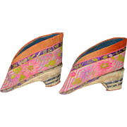 SOLD Antique Pair Chinese Embroidered Silk Lotus Shoes Bound Feet