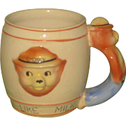 REDUCED 1950s Smokey the Bear Ceramic Child's Milk Mug with Figural Handle