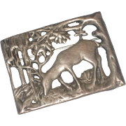 REDUCED Finely Detailed Vintage Sterling Silver Deer Stag in Forest Brooch