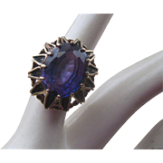 SALE Ornate Vintage 10k Gold & Amethyst Stone Ring