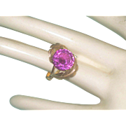 SALE Vintage 14k gold and Pink Sapphire Ring