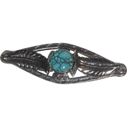 REDUCED Vintage Navajo Sterling and Spiderweb Turquoise Feather Brooch Pin