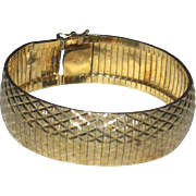 Vintage Gold Vermeil over Sterling Silver Wide Diamond Cut Bracelet Italy