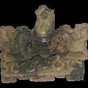 REDUCED Beautiful  & Intricate Vintage Foo Dog Carved Soapstone Incense Burner