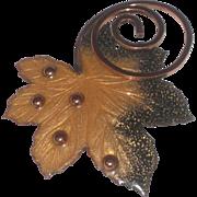 REDUCED Matisse Signed Vintage Copper and Enamel Leaf Brooch Pin