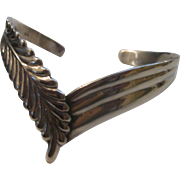 REDUCED Stunning Vintage Southwest Style Sterling Silver Cuff Bracelet Chevron & Feather desig