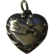 Charming Vintage Puffed Heart Charm Sterling Silver with Bird holding a Letter