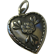 SALE Sweet Vintage Sterling Silver Puffy Heart Charm with Flower & Ruffled Edges