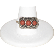 SALE Beautiful Austro Hungarian Silver Ring with Marcasites and Salmon Coral size 10