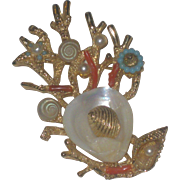 "Beautiful Vintage ""ART"" co signed Seashell Coral & Turquoise Nautical Brooch Pin"