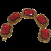 Vintage Signed Judy Lee Ruby Red Large Rhinestone Statement Bracelet