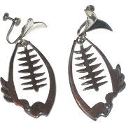REDUCED Funky Taxco Fishbone Mid Century Modern Sterling Silver Earrings signed Romero