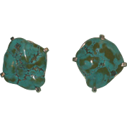 REDUCED Vintage Jan-Leslie sterling silver Chunky Turquoise clip-back earrings