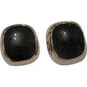 Chunky Vintage Taxco Mexico Sterling Silver & Black Onyx Clip Back Earrings