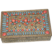 SALE Early Tibetan Turquoise and Coral Mounted Hinged Brass Dresser Box
